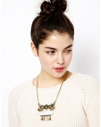 ASOS - Metallic Talisman Quartz Necklace with Semi Precious Stone - Lyst