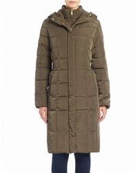 Cole Haan | Green Hooded Puffer Coat | Lyst