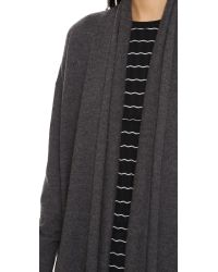 DKNY - Gray Open Front Cardigan Coat - Lyst