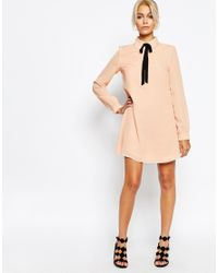 Fashion Union | Natural Shirt Dress With Tie Neck | Lyst