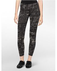 Calvin Klein | Black White Label Performance Cipher Print Cotton Stretch Leggings | Lyst