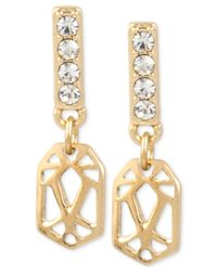 Kenneth Cole | Metallic Gold-tone Crystal Cut-out Drop Earrings | Lyst