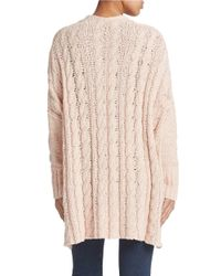 Free People | Metallic Oversized Cable Knit Sweater | Lyst