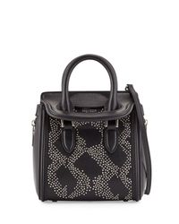 Alexander McQueen - Black Heroine Flowers Small Stud Satchel Bag - Lyst