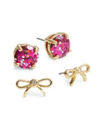 kate spade new york | Pink Two-piece Bow Stud Earring Set | Lyst
