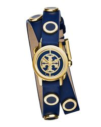 Tory Burch | Blue Reva Mini Double-wrap Leather Watch | Lyst