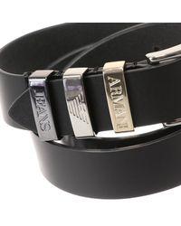 Armani Jeans | Black Leather Classic Belt | Lyst