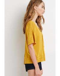Forever 21 | Yellow Embroidered Pintucked Blouse | Lyst