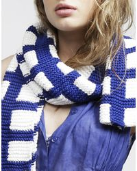 Wool And The Gang | Blue Check Mate Scarf | Lyst