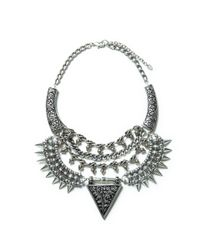 Zara | Metallic Triangular Studded Necklace | Lyst
