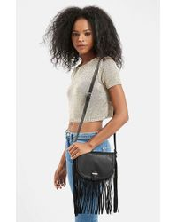 TOPSHOP | Black Suede Fringe Crossbody Bag | Lyst