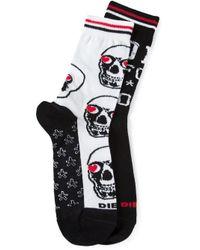 DIESEL - White Skm-Ray Socks for Men - Lyst