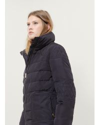 Violeta by Mango | Blue Quilted Feather Long Coat | Lyst