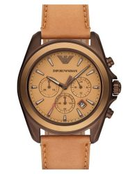 Emporio Armani - Natural Chronograph Watch for Men - Lyst