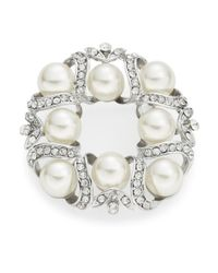 R.j. Graziano - White Faux Pearl And Crystal Wreath Brooch - Lyst