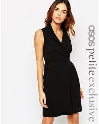 ASOS - Black Wrap Dress In Crepe - Lyst