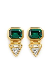 Kenneth Jay Lane | Green Crystal Drop Stone Clip Earrings | Lyst