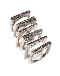 House of Harlow 1960 | Metallic Engraved Ring Stack | Lyst