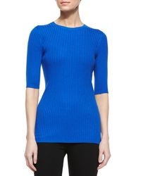 Vince - Blue Slim-fit Ribbed Crewneck Sweater - Lyst