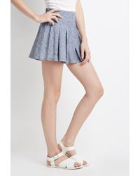 Forever 21 - Blue Pleated Chambray Shorts - Lyst