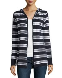 Minnie Rose - Multicolor Hooded Cotton-blend Striped Cardigan - Lyst