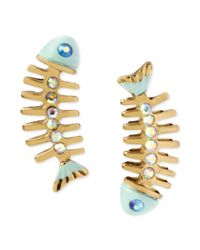 Betsey Johnson - Metallic Goldtone Crystal Skeleton Fish Earrings - Lyst