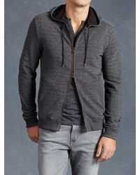 John Varvatos | Black Long Sleeve Zip Hoodie for Men | Lyst