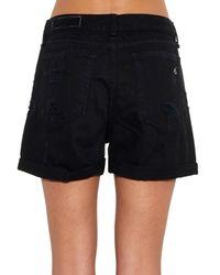 Rag & Bone - Black The Boyfriend Distressed Denim Shorts - Lyst