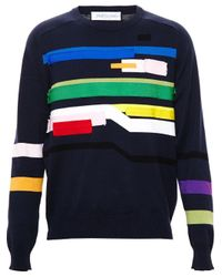 James Long | Blue Patchwork Sweater for Men | Lyst