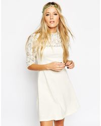 ASOS | White Skater Dress With High Neck And Mixed Lace Inserts - Cream | Lyst