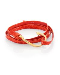 Miansai - Orange Anchor Alligator Leather Bracelet for Men - Lyst