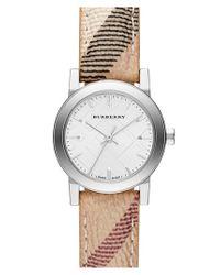 Burberry - Metallic Small Check Strap Watch - Lyst
