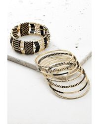 Forever 21 | Metallic Threaded Bead Bangle Set | Lyst