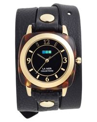 La Mer Collections - Metallic Leather Strap Wrap Watch - Lyst
