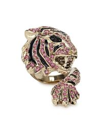 Roberto Cavalli | Metallic Gold Plated Swarovski Crystal Tiger Ring | Lyst