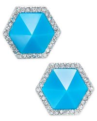 ABS By Allen Schwartz | Blue Color Pop Pave Hexagon Stud Earrings | Lyst