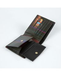 Paul Smith - Men's Black Leather 'mini Graphic Edge' Print Interior Billfold And Coin Wallet for Men - Lyst