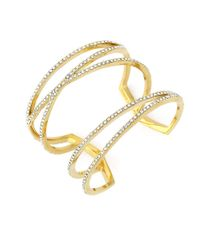 Vince Camuto - Metallic Rhinestone Cutout Cuff Bracelet - Lyst
