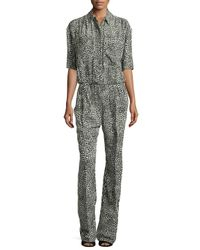 Stella McCartney - Green Silk Animal-print Jumpsuit - Lyst