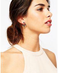 ASOS | Metallic Triple Spike Color Swing Earrings | Lyst