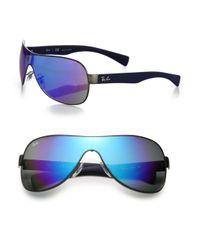 Ray-Ban   Blue Mirrored 65mm Shield Sunglasses   Lyst