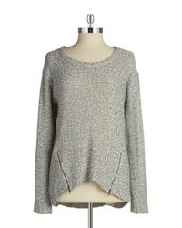 Lord & Taylor | Metallic Zipper-accent Sweater | Lyst