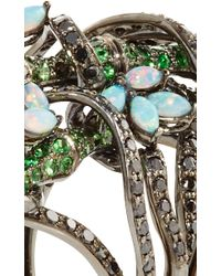 Wendy Yue - Multicolor Tsavorite And Opal Floral Ring - Lyst