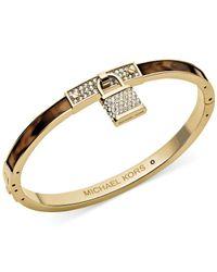 Michael Kors | Metallic Gold-Tone Tortoise Pave Padlock Bangle Bracele | Lyst