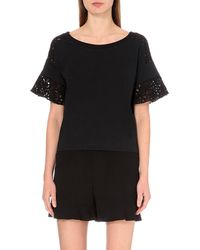 See By Chloé | Black Embroidered Cotton-jersey Top | Lyst