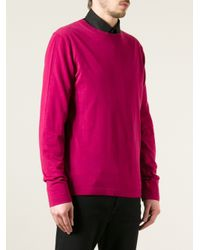 Emporio Armani - Pink Crew Neck Sweater for Men - Lyst