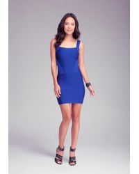 Bebe - Blue Colorblock Strap Bandage Dress - Lyst