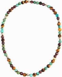 Nialaya | Multicolor 14ct Gold Turquoise Tiger Eye Beaded Bracelet | Lyst