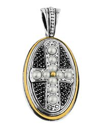 Konstantino | White Oval Spinel & Pearl Cross Pendant Enhancer | Lyst
