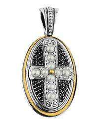 Konstantino   White Oval Spinel & Pearl Cross Pendant Enhancer   Lyst
